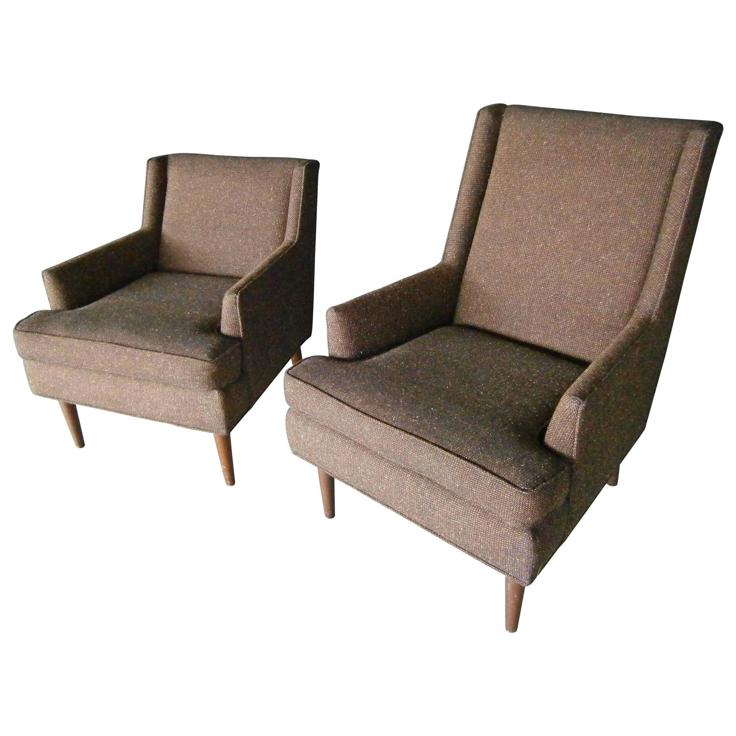 Set of two mid century modern fully upholstered his and for Mid century modern upholstered chair