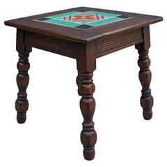 1920s Walnut Table with Inlaid California Tile