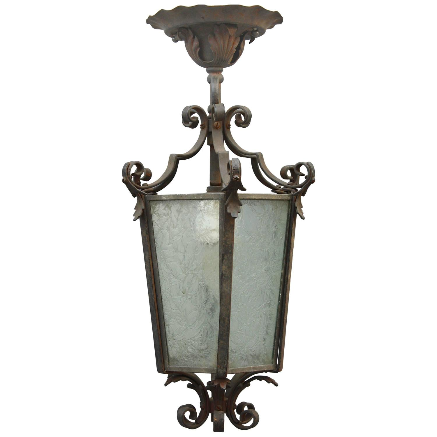 Antique 1920s Wrought Iron Pendant At 1stdibs