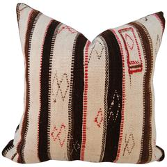 Custom Pillow Cut from a Vintage Hand Loomed Wool Moroccan Rug, Atlas Mountains
