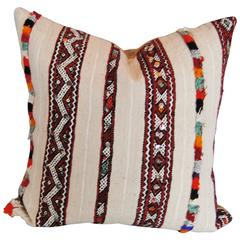 Moroccan Hand-Loomed Wool Custom Pillow with Sequins and Tufting