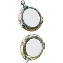 Pair of Bronze French Portholes