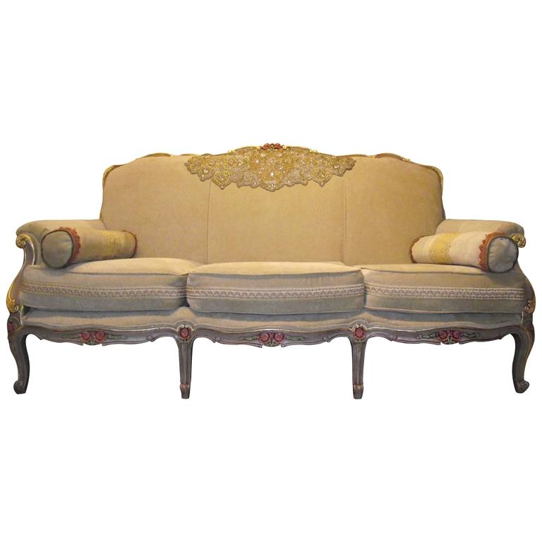 Napoleon Iii French Style Sofa In Beige Chenille Frame Has Gold Leaf Accents
