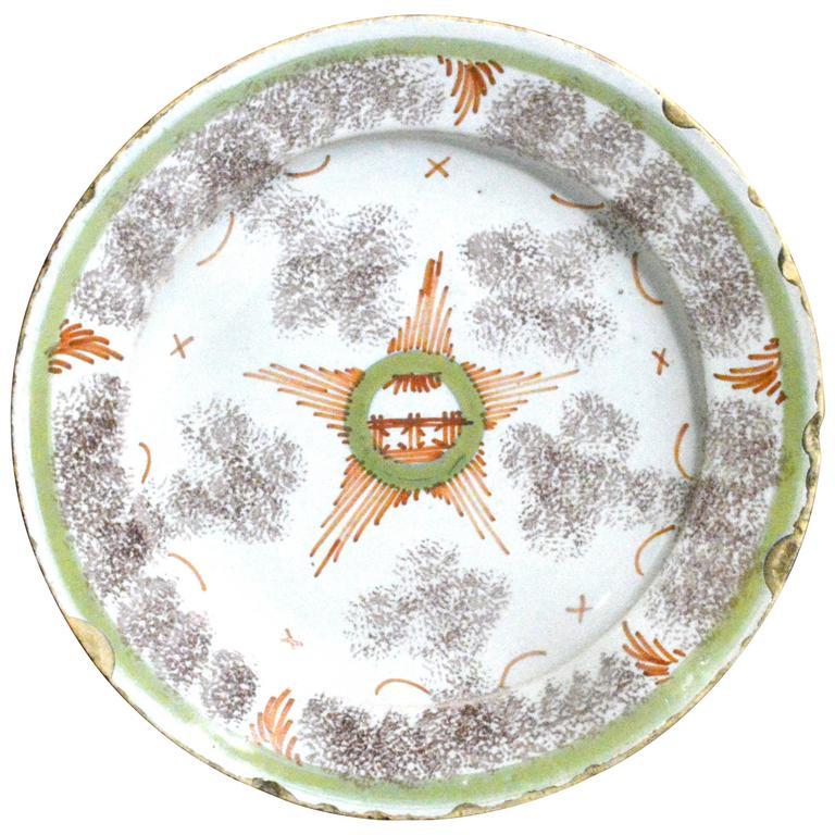 Bristol Delftware Star Plate For Sale