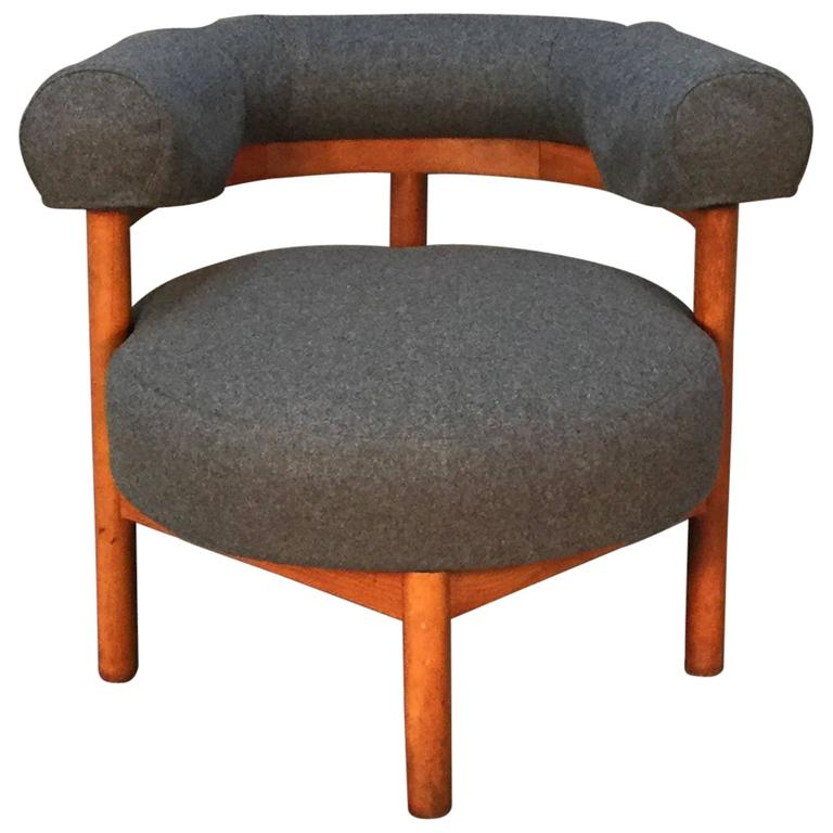 Modern mid century teak and wool upholstered corner chair for Mid century modern upholstered chair