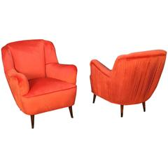 Pair of Velvet Pleated Back Italian Club Chairs in New Upholstery