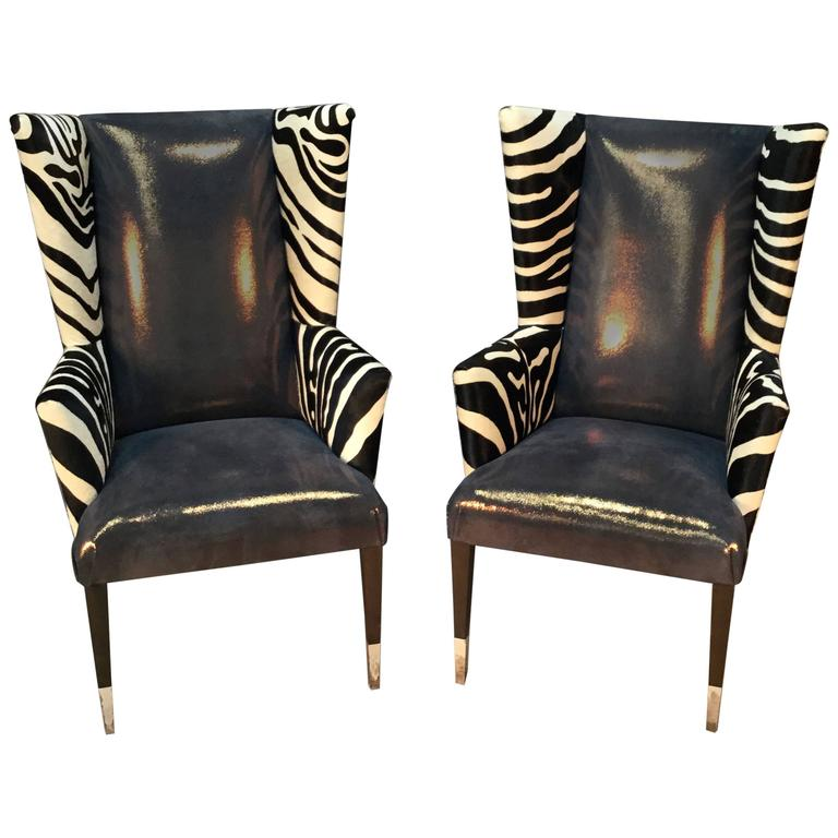 Pair Of Modern Wingback Chairs In Zebra Printed Cowhide And Faux Shagreen  For Sale
