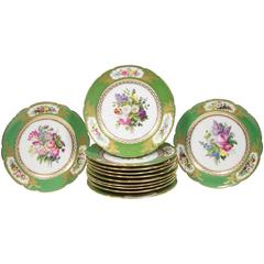 Set of 12 French 'Vieux Paris' Feuillet Porcelain Green-Ground Dessert Plates