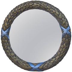 Large Convex Gold and Silver Leaf Mirror