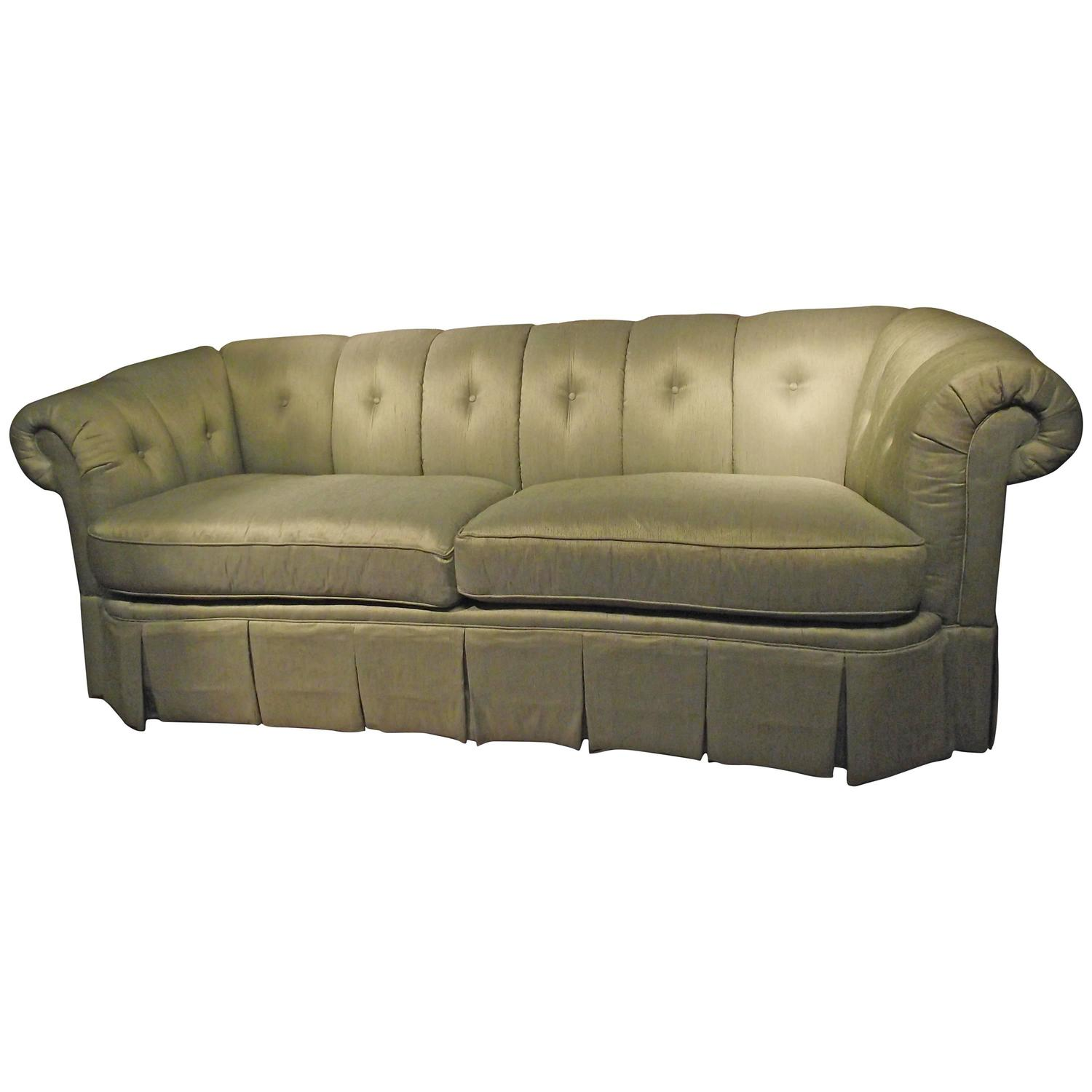 Chesterfield Sofa Covered In Green Upholstery Silk At 1stdibs