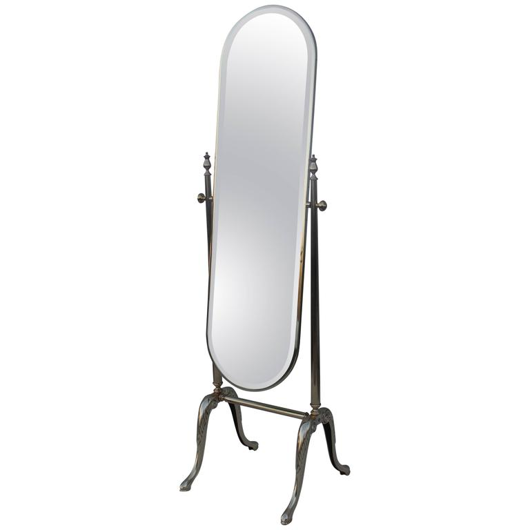 1960s French Brass Cheval Mirror For