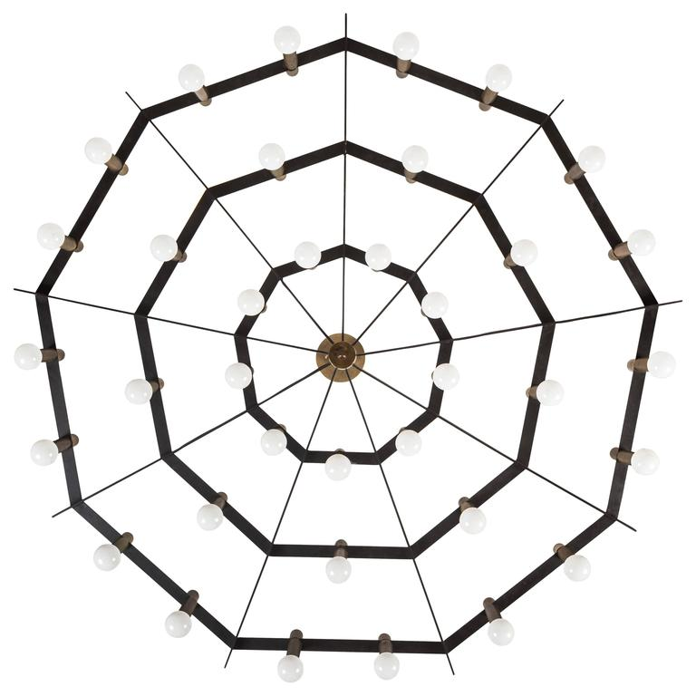 "Rare 'Spiderweb"" Chandelier by Stilnovo For Sale"