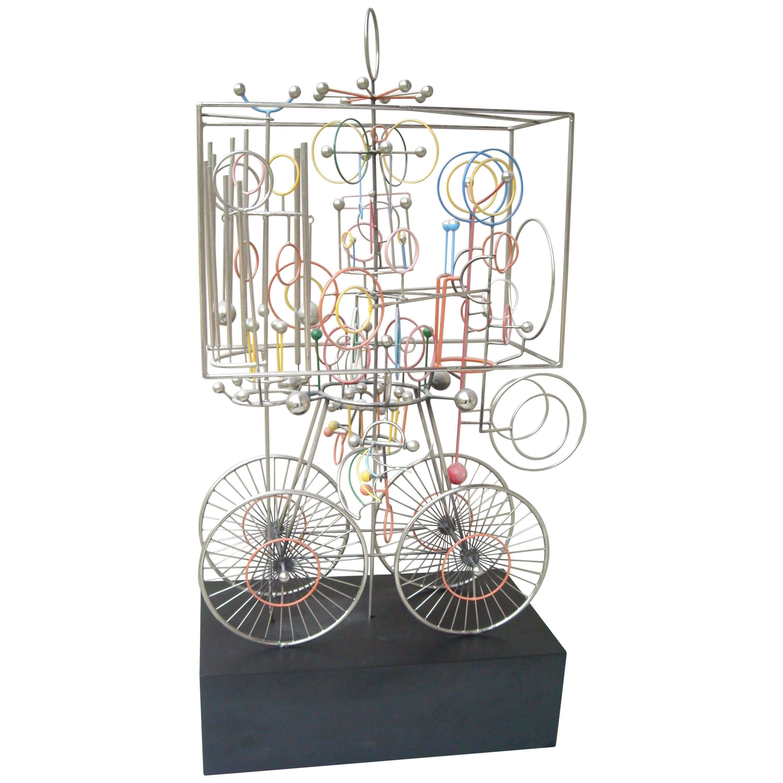 Joseph Burlini Kinetic Sculpture, Signed, Dated