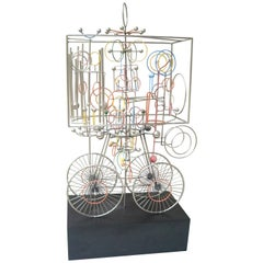 Joseph Burlini Kinetic Sculpture, Signed, Dated