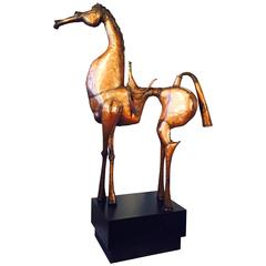 Imposing Modernist Copper Equestrian Sculpture, 1979