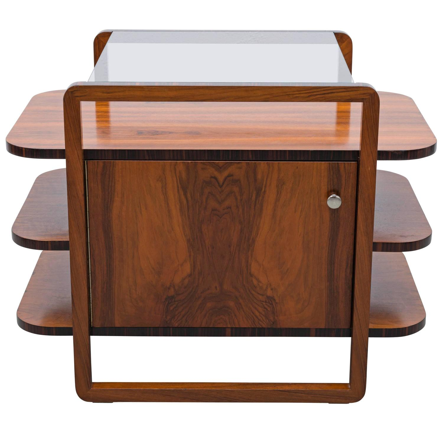 Art Deco Bar In Walnut From The 1930s Czech Bauhaus Rare