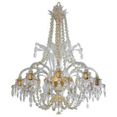 Handcrafted Italian Murano Glass transparent Flowers Chandelier, 1950s