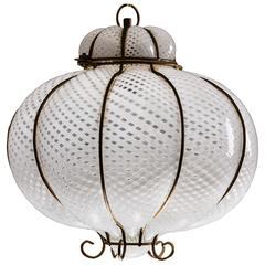"""Rare Venetian Lantern """"reticello"""" by Carlo Scarpa per Venini, 1940s"""