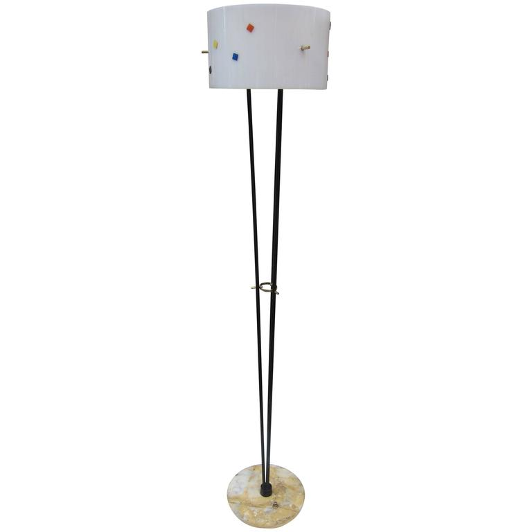 perspex iron and marble base floor lamp italy 1960 at 1stdibs. Black Bedroom Furniture Sets. Home Design Ideas