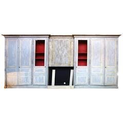 French Louis XVI Style Woodwork or Boiserie, Light Blue and White