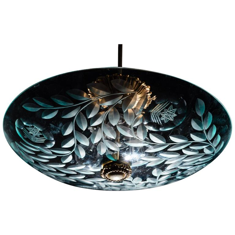 Fontana Arte Ceiling Fixture Attributed to Pietro Chiesa, Italy, circa 1935 For Sale