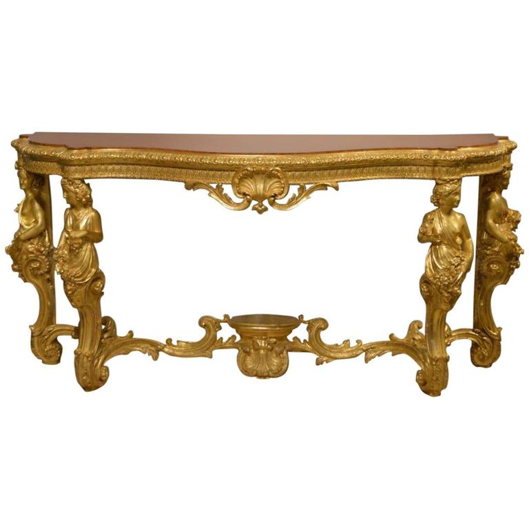 Superb 19th century french baroque style gilt wood - Baroque console table ...
