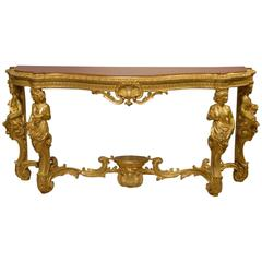 Superb 19th Century French Baroque Style Gilt-Wood Serpentine Console Table