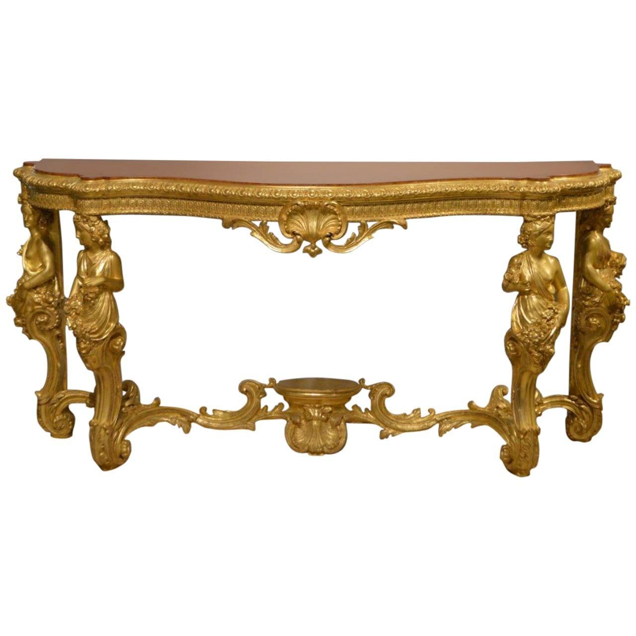 superb 19th century french baroque style gilt wood serpentine console table at 1stdibs. Black Bedroom Furniture Sets. Home Design Ideas