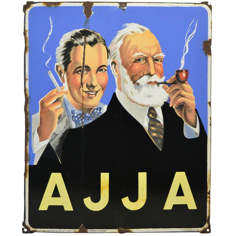 Vintage Enamel Advertising Sign Ajja Tobacco, 1950