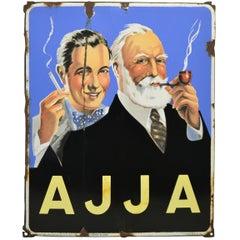 Vintage Enamel Advertising Sign Ajja Tobacco, 1950, Belgium