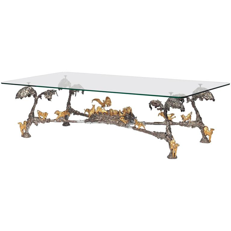 Modern Silvered and Gilt-Bronze Coffee Table by JM David