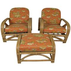 Pair of Vintage Rattan Lounge Chairs and Ottoman by Ritts Company