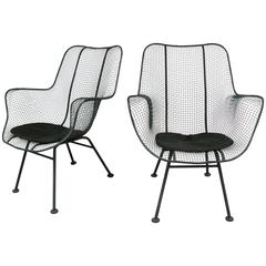Pair of Vintage High Back Lounge Chairs by Russell Woodard