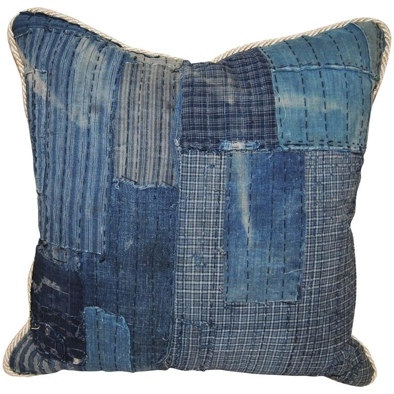 Antique Japanese Indigo Cotton Boro Pillow with Sashiko Stitching