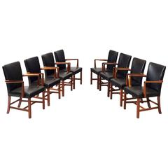 Set of Eight Dining Chairs in Mahogany and Leather