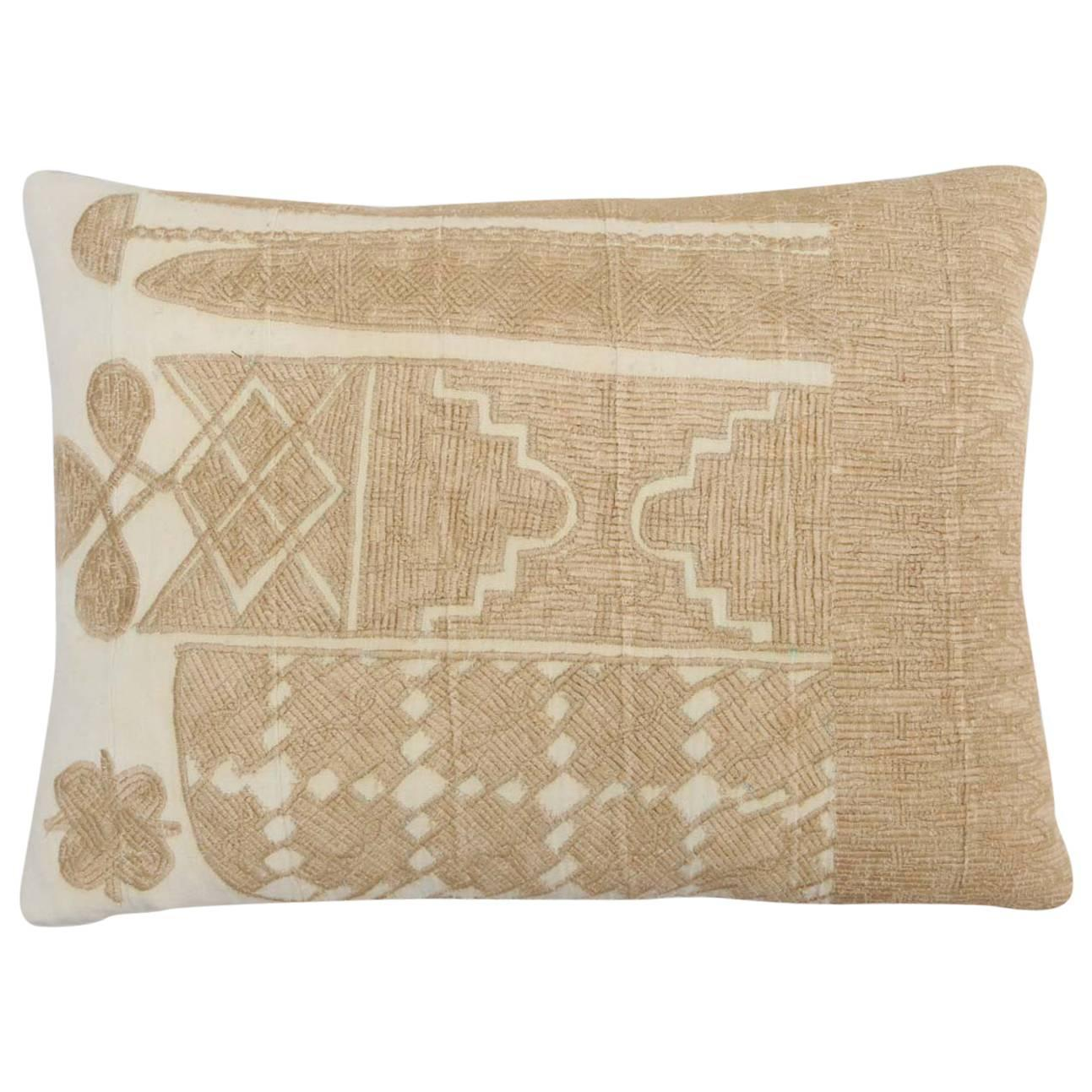 Vintage African Embroidered Pillow at 1stdibs