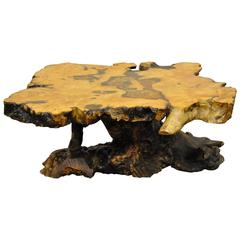 """An Original Star Dust"" Burlwood Co. California Redwood Free Form Coffee Table"