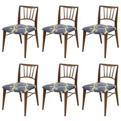 Set of Six Walnut Dining Chairs by Edward Wormley for Dunbar