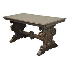 19th Century Italian Renaissance Revival Carved Figural Griffin Console Table