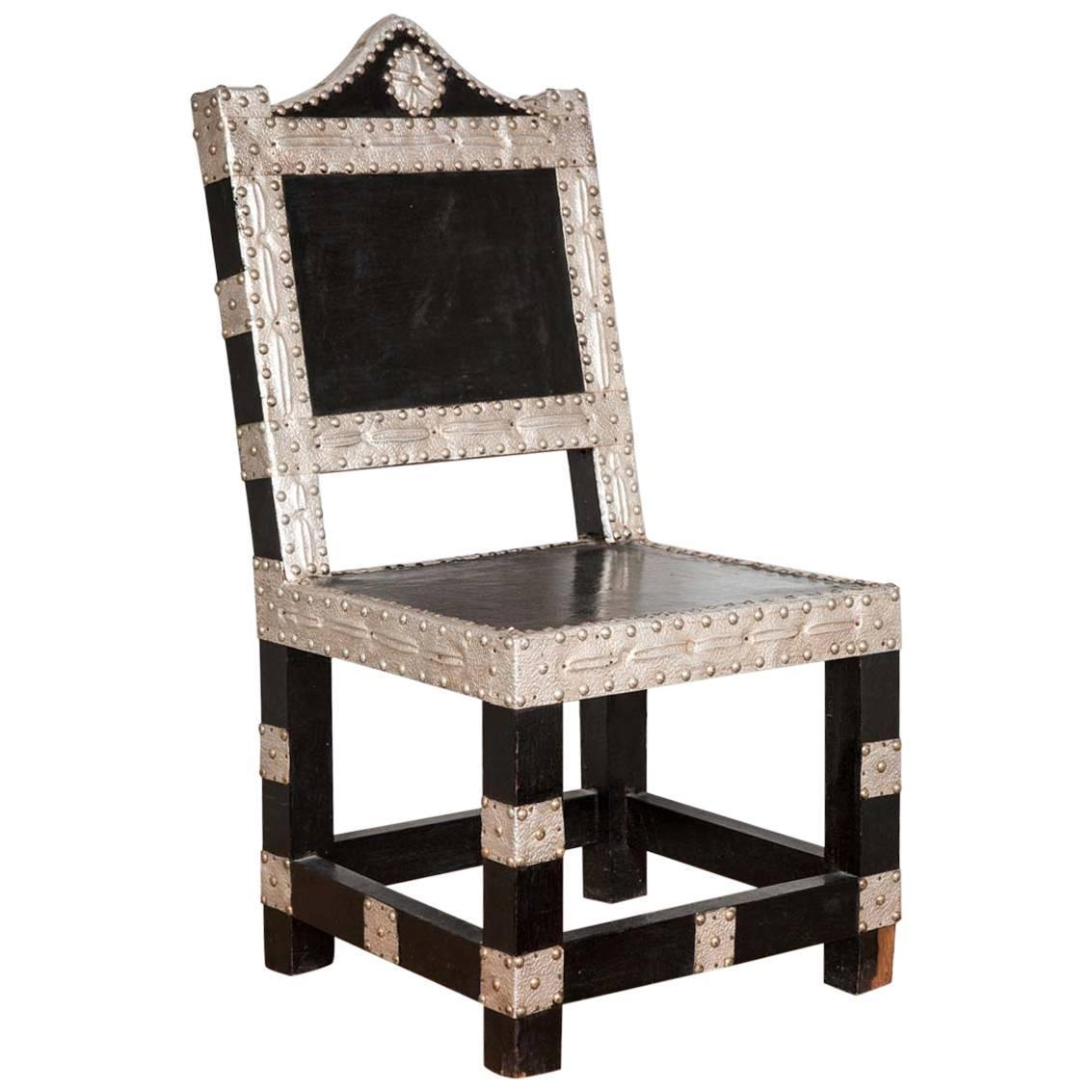 Early 20th Century Ebonized And Silvered Hall Chair At 1stdibs