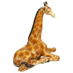 Vintage Italian Ceramic Seated Giraffe