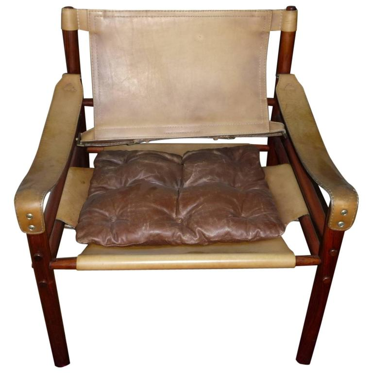 Arne Norell Sirocco Safari Lounge Chair, Rio Rosewood and Leather, 1960s, Danish