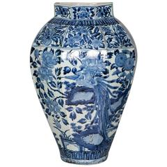 Tall Japanese Arita Blue and White Vase, circa 1700