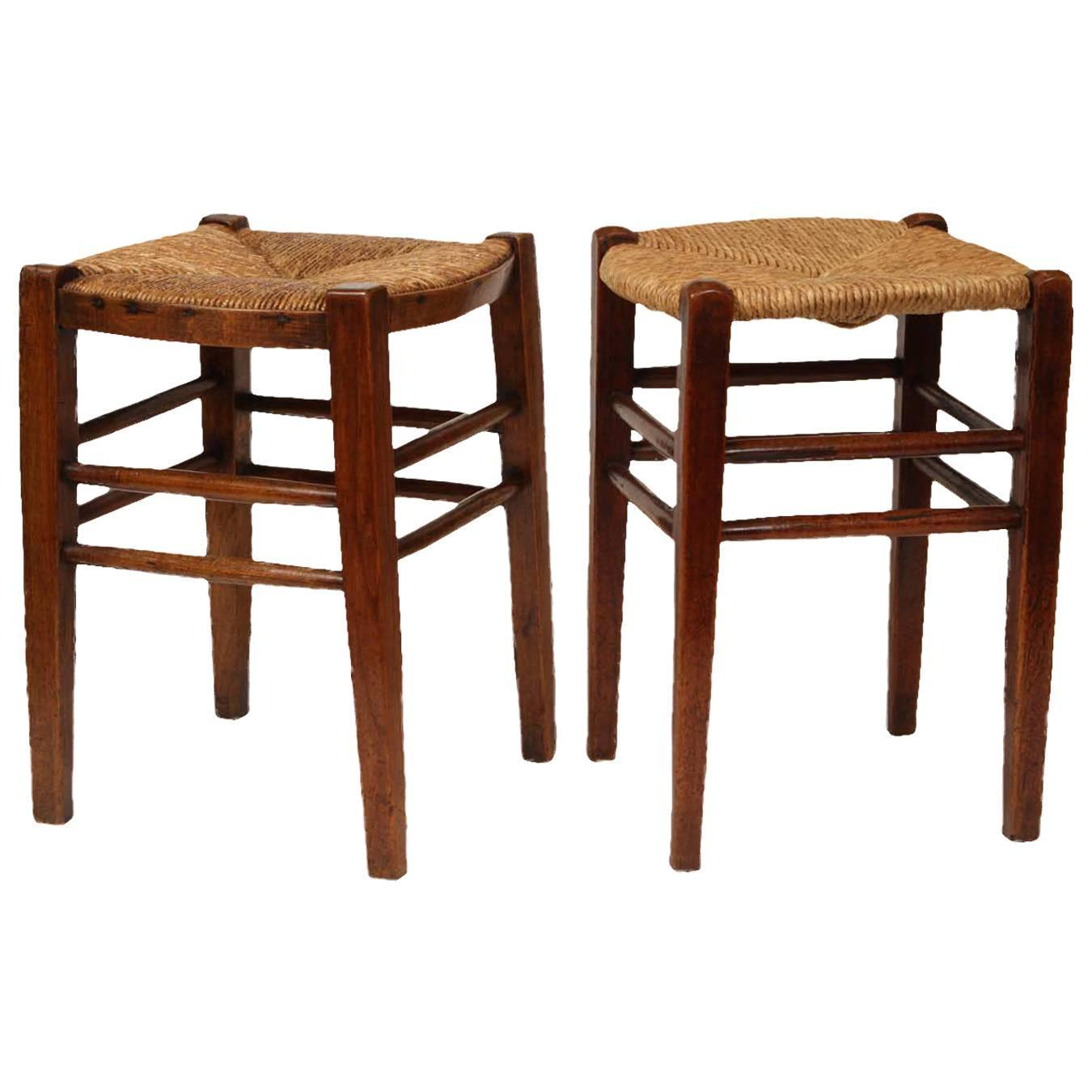 Very Impressive portraiture of Near Pair of French Fruitwood Provincial Stools with Rush Seats at  with #3B1A0F color and 1350x1350 pixels