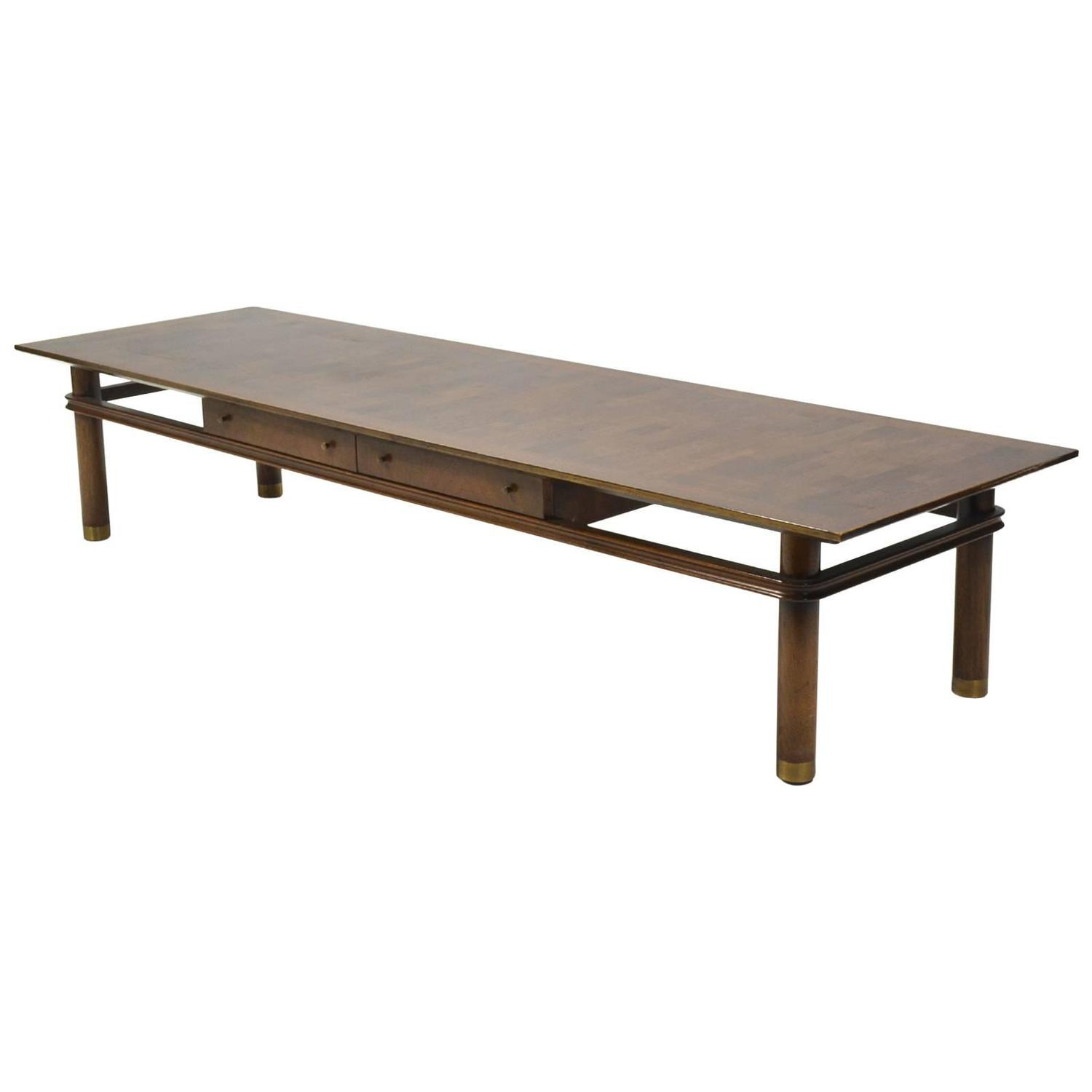 Brass Inlayed Asian Style Coffee Table Johnson Furniture Co