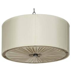 Hand-Stitched Laced Linen Shaded Ceiling Mount Fixture