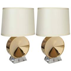 Pair of Gold and Lucite Italian Table Lamps