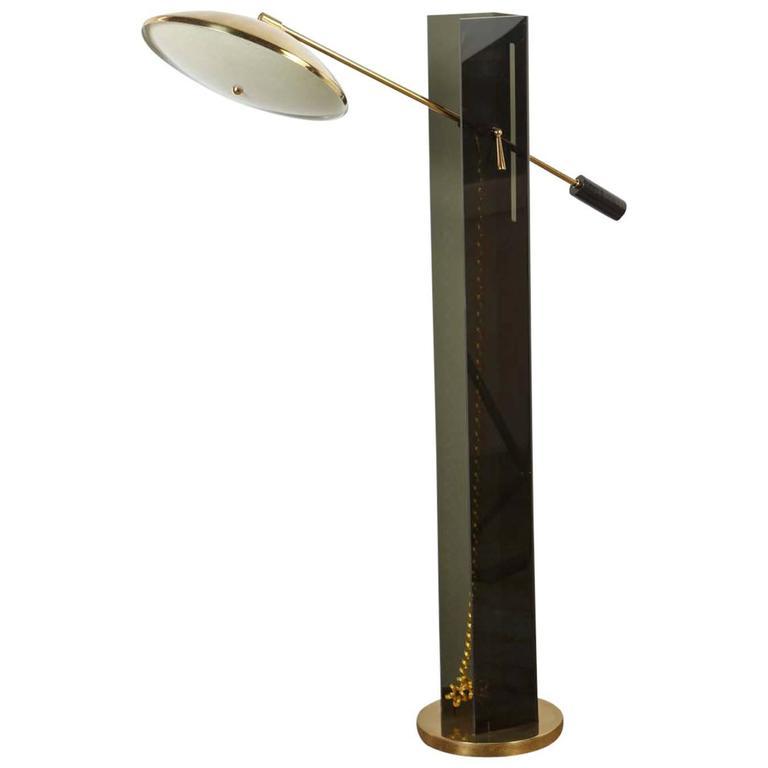 Mid-Century Smoke Acrylic and Brass Mid-Century Floor Lamp