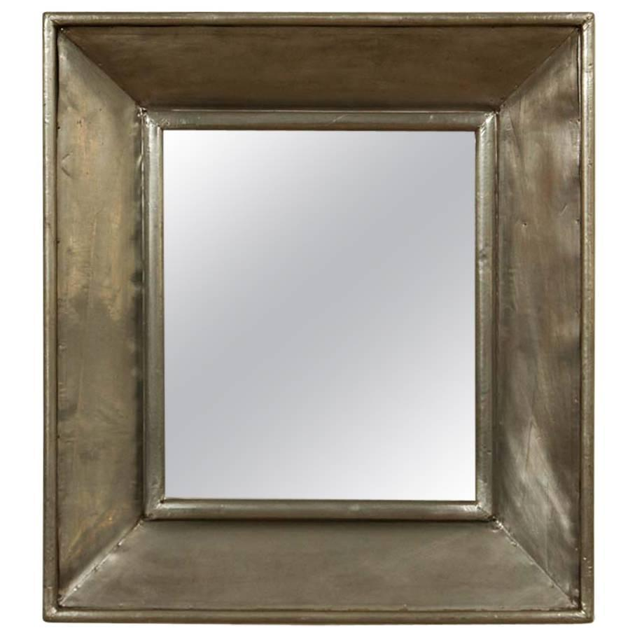 Vintage pewter square mirror at 1stdibs for Square mirror