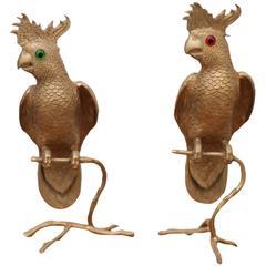 Pair of Huge Brass Parrot or Bird Bookends or Sculptures